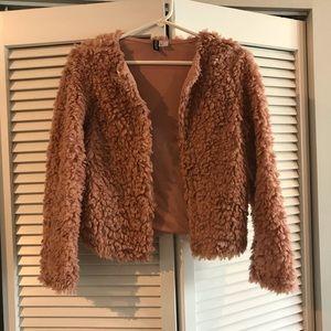 Blush pink teddy jacket size S